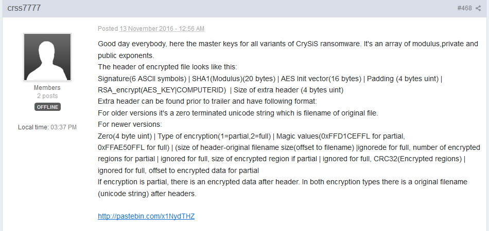 CrySis ransomware master key