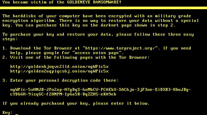 Goldeneye ransomware